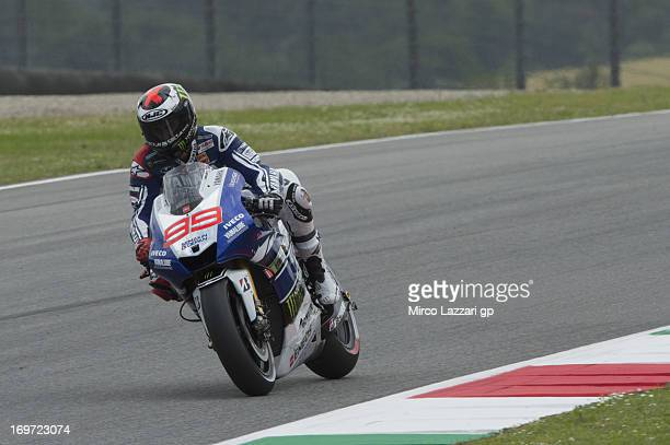 Jorge Lorenzo of Spain and Yamaha Factory Racing heads down a straight during the MotoGp of Italy Free Practice at Mugello Circuit on May 31 2013 in...