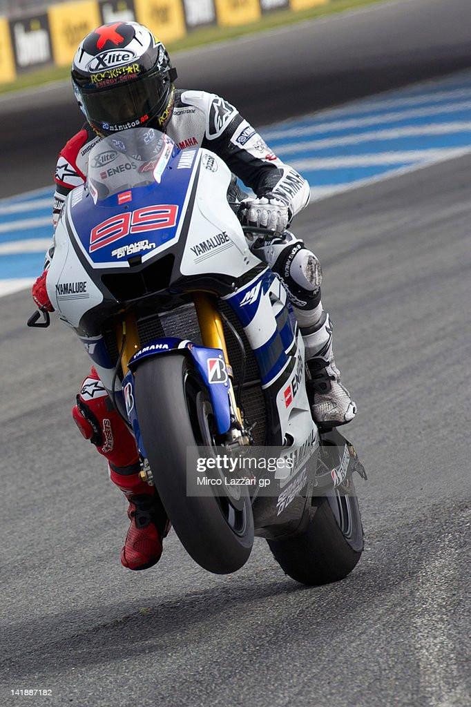 Jorge Lorenzo of Spain and Yamaha Factory Racing lifts the front wheel during the third day of testing of MotoGP Tests In Jerez at Circuito de Jerez on March 25, 2012 in Jerez de la Frontera, Spain.