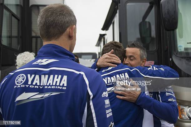 Jorge Lorenzo of Spain and Yamaha Factory Racing returns to paddock after an operation on his collarbone which he broke during yesterday's free...