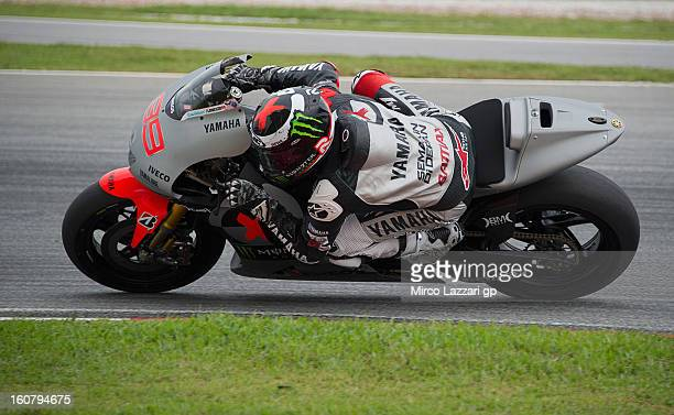 Jorge Lorenzo of Spain and Yamaha Factory Racing rounds the bend during the MotoGP Tests in Sepang Day Four at Sepang Circuit on February 6 2013 in...