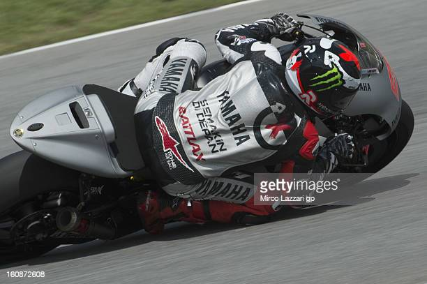 Jorge Lorenzo of Spain and Yamaha Factory Racing rounds the bend during the MotoGP Tests in Sepang Day Five at Sepang Circuit on February 7 2013 in...