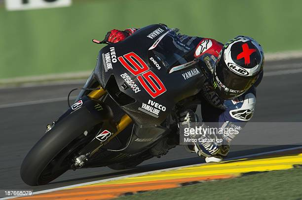 Jorge Lorenzo of Spain and Yamaha Factory Racing rounds the bend with the new bike during the MotoGP Tests in Valencia Day 1 during the at Ricardo...