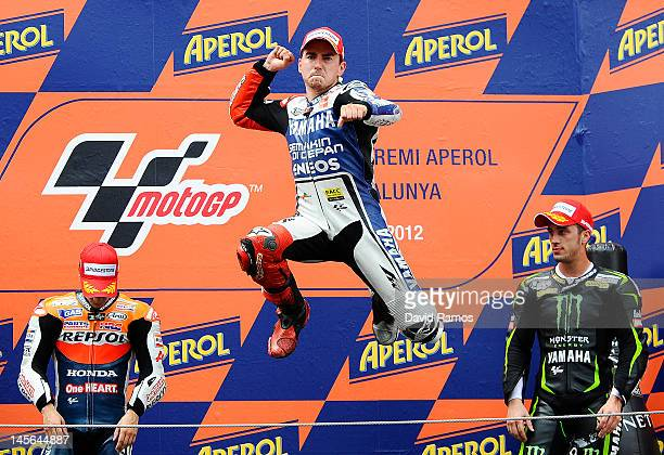 Jorge Lorenzo of Spain and Yamaha Factory Racing Team celebrates on the podium after winning the MotoGP race at Circuit de Catalunya on June 3 2012...