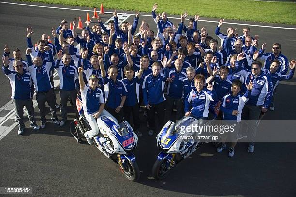 Jorge Lorenzo of Spain and Yamaha Factory Team and Katsuyuki Nakasuga of Japan and Yamaha Factory Racing pose with the bikes and team in order to...