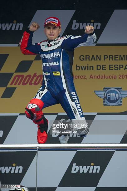 Jorge Lorenzo of Spain and Yamaha Factory Team celebrates on the podium the victory at the end of the MotoGP race at Circuito de Jerez on April 3...