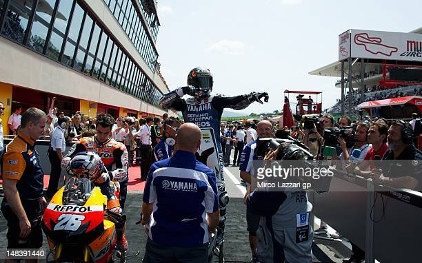 Jorge Lorenzo of Spain and Yamaha Factory Team celebrates the victory after the MotoGP of Italy at Mugello Circuit on July 15 2012 in Scarperia Italy