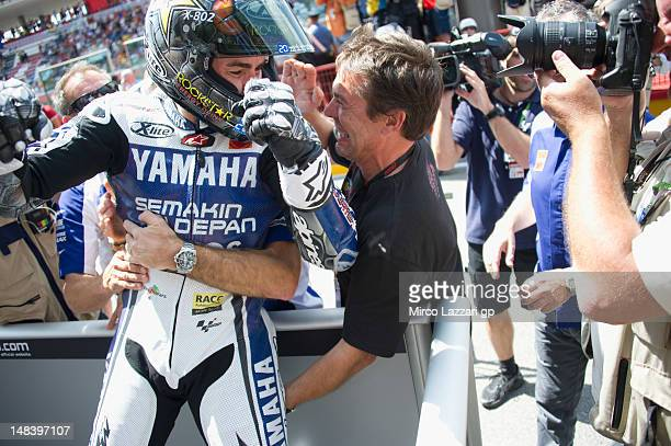 Jorge Lorenzo of Spain and Yamaha Factory Team celebrates the victory with mechanics after the MotoGP of Italy at Mugello Circuit on July 15 2012 in...