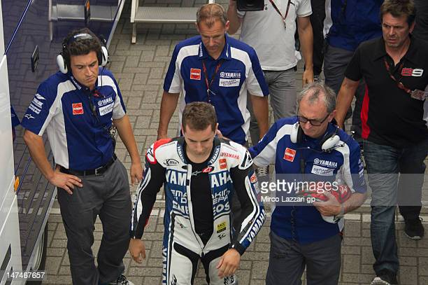 Jorge Lorenzo of Spain and Yamaha Factory Team returned in box after crashed out during the MotoGP race of the MotoGp Of Holland at TT Circuit Assen...