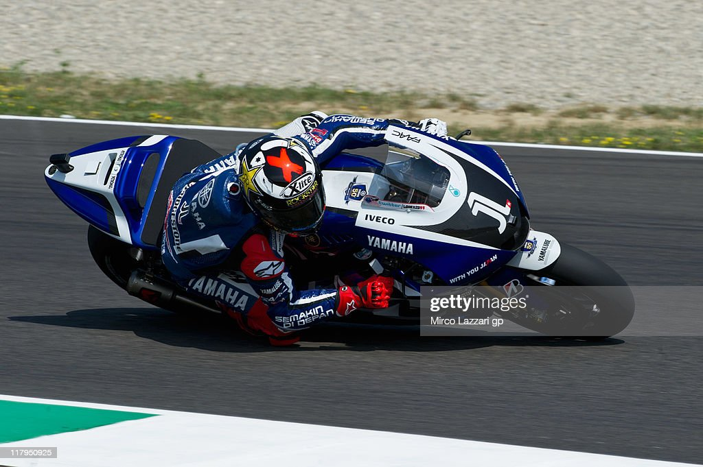 Jorge Lorenzo of Spain and Yamaha Factory Team rounds the bend during the free practice of MotoGP of Italy at Mugello Circuit on July 2, 2011 in Scarperia near Florence, Italy.