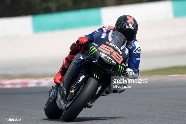 Jorge Lorenzo of Spain and Yamaha Factory Test team heads down a straight during the MotoGP PreSeason Test shakedown Day 03 at Sepang Circuit on...