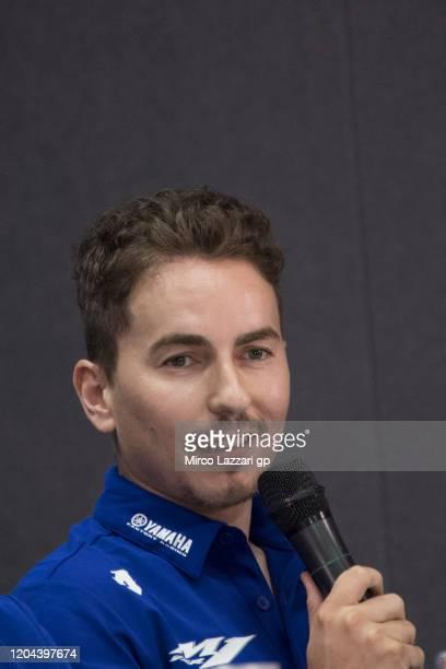Jorge Lorenzo of Spain and Yamaha Factory Test team speaks during the 2020 Team Yamaha Factory Racing presentation during the MotoGP Pre-Season Teams...