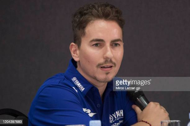 Jorge Lorenzo of Spain and Yamaha Factory Test team speaks during the 2020 Team Yamaha Factory Racing presentation during the MotoGP PreSeason Teams...