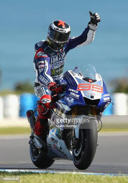 Jorge Lorenzo of Spain celebrates getting getting pole on his Yamaha Factory Racing Yamaha during the MotoGP Qualifying at Phillip Island Grand Prix...