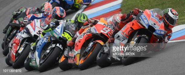 Jorge Lorenzo of Spain leads a pack during the MotoGP competition of the Czech MotoGP at Masaryk Circuit on August 05 2018 in Brno Czech Republic