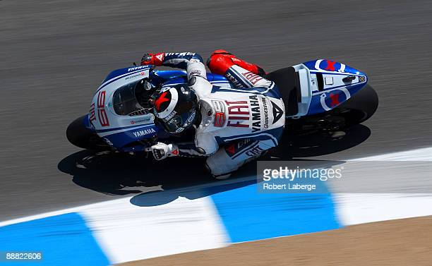 Jorge Lorenzo of Spain rides the Fiat Yamaha during qualifying for the Moto GP Red Bull U S Grand Prix at the Mazda Raceway Laguna Seca on July 4...