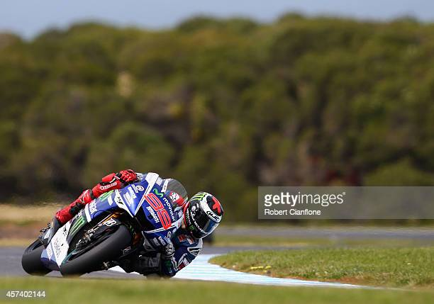 Jorge Lorenzo of Spain rides the Movistar Yamaha MotoGp Yamaha during practice for the 2014 MotoGP of Australia at Phillip Island Grand Prix Circuit...