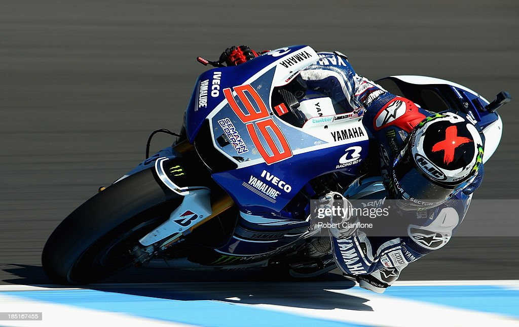 Motogp of australia free practice photos and images getty images jorge lorenzo of spain rides the 99 yamaha factory racing yamaha during motogp free practice voltagebd Images