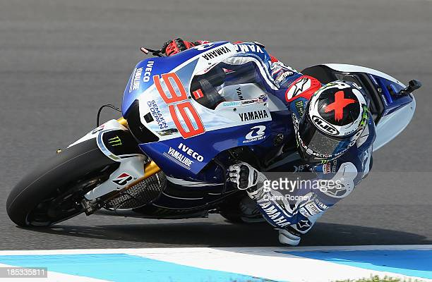 Jorge Lorenzo of Spain rides the Yamaha Factory Racing Yamaha during free practice at Phillip Island Grand Prix Circuit on October 19, 2013 in...