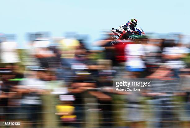 Jorge Lorenzo of Spain rides the Yamaha Factory Racing Yamaha during the MotoGp qualifying session at the Phillip Island Grand Prix Circuit on...