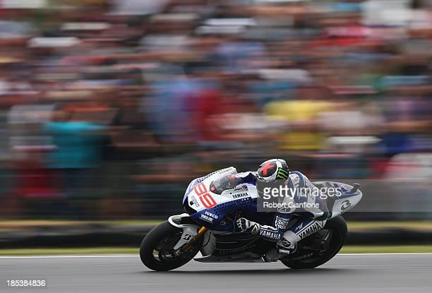 Jorge Lorenzo of Spain rides the Yamaha Factory Racing Yamaha during the Australian MotoGP race at Phillip Island Grand Prix Circuit on October 20...