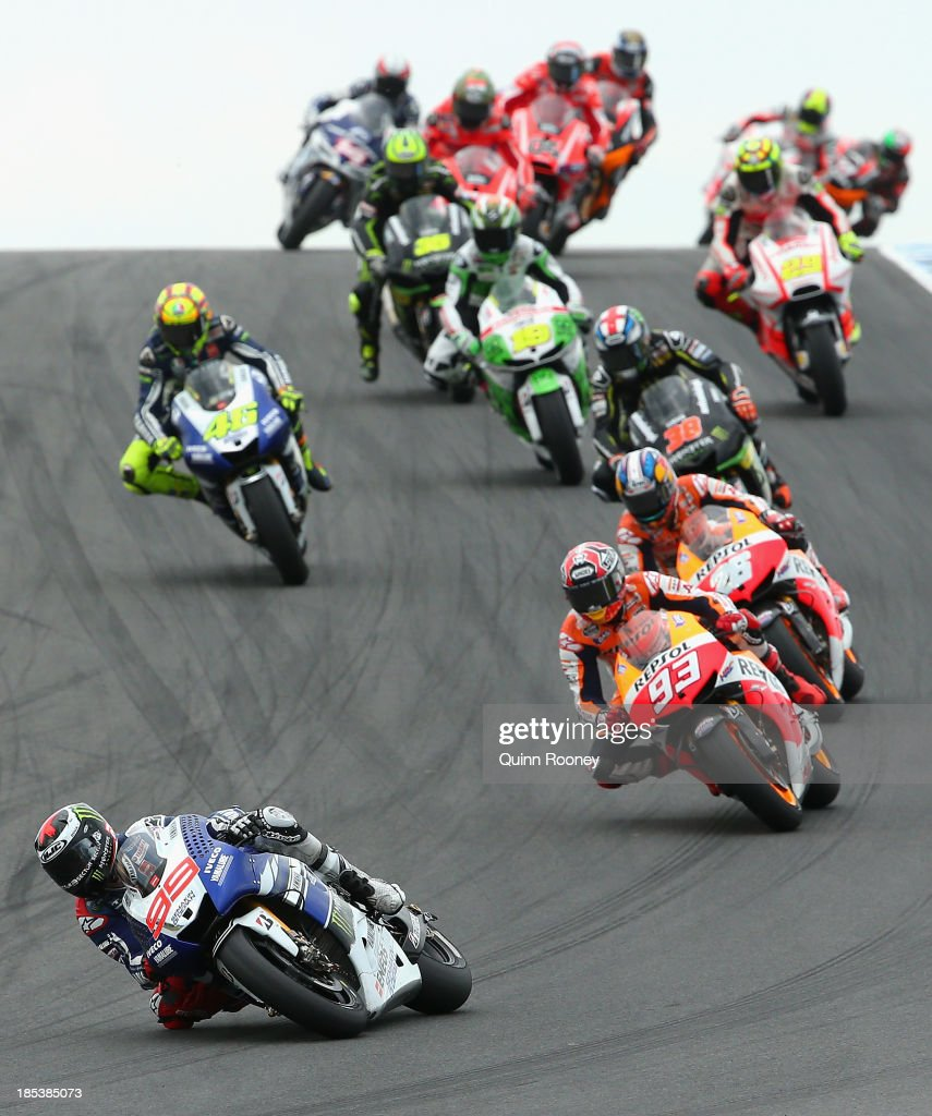 Motogp of australia race photos and images getty images jorge lorenzo of spain rides the 99 yamaha factory racing yamaha during the australian motogp voltagebd Images