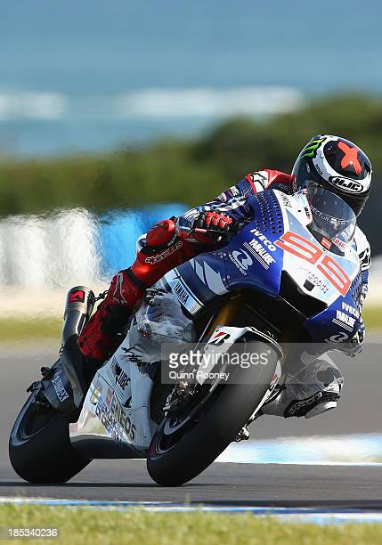 Jorge Lorenzo of Spain rides with a seagull caught in the front of his Yamaha Factory Racing Yamaha during the MotoGP Qualifying at Phillip Island...