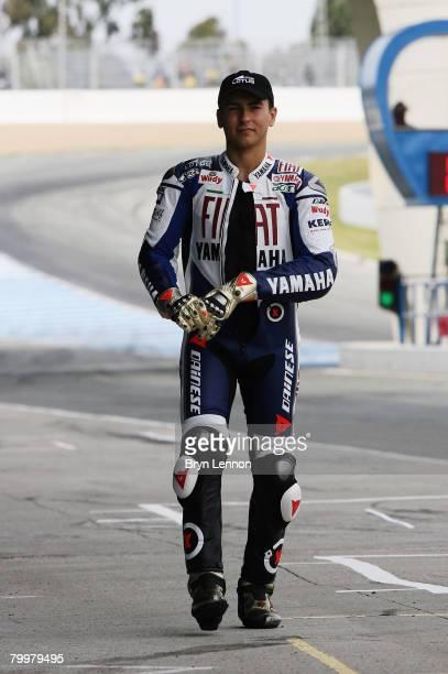 Jorge Lorenzo of Spain walks down the pit lane MotoGP Testing at the Circuito de Jerez on February 16 2008 in Jerez Spain