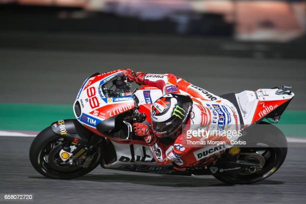Jorge Lorenzo of Spain who rides Ducati for Ducati Team during free practice session 1 during the Grand Prix of Qatar on March 23 2017 in Doha Qatar