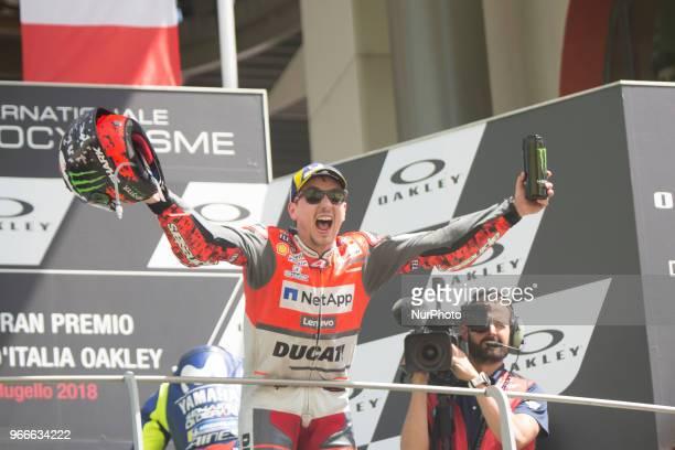 99 Jorge LORENZO SPA Ducati Team Ducati podium winner during Race MotoGP at the Mugello International Cuircuit for the sixth round of MotoGP World...