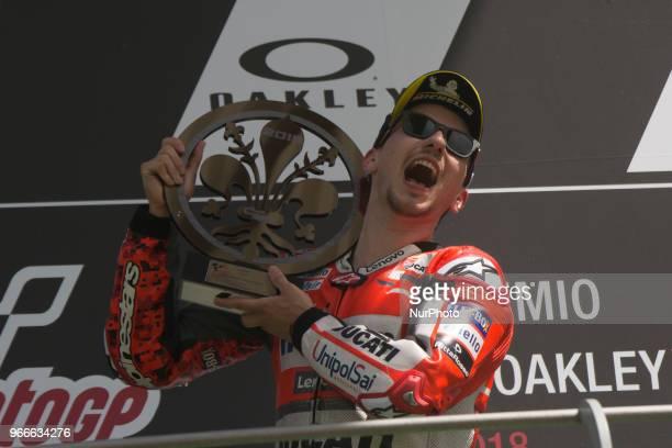 Jorge LORENZO SPA Ducati Team Ducati podium winner during Race MotoGP at the Mugello International Cuircuit for the sixth round of MotoGP World...