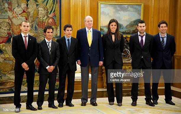 Jorge Lorenzo Toni Elias Marc Marquez King Juan Carlos of Spain Laia Sanz Antoni Bou and Carlos Campano at Zarzuela Palace on March 2 2011 in Madrid...