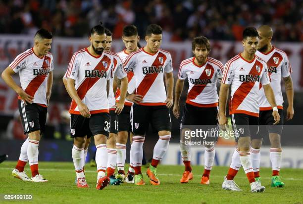 Jorge Luis Moreira Ariel Rojas Camilo Mayada Sebastian Driussi Leonardo Ponzio and Gonzalo Martinez of River Plate leave the field at the end of the...