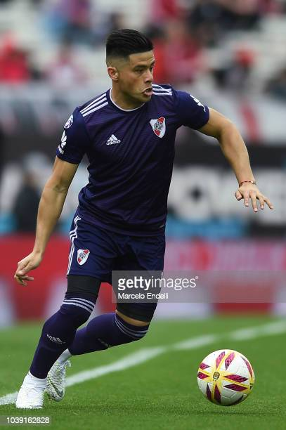 Jorge Luis Moreira of River Plate drives the ball during a match between River Plate and San Martin de San Juan as part of Superliga 2018/19 at...