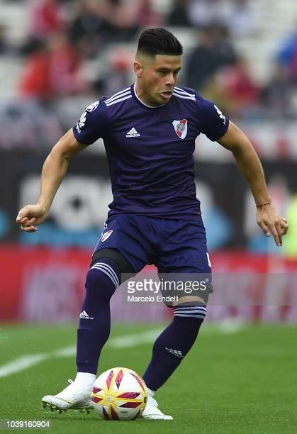 Jorge Luis Moreira of River Plate kicks the ball during a match between River Plate and San Martin de San Juan as part of Superliga 2018/19 at...