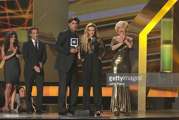 Jorge Luis Pila Acacely Arambula and Christian Bach on stage during Telemundo's Premios Tu Mundo Awards at American Airlines Arena on August 15 2013...