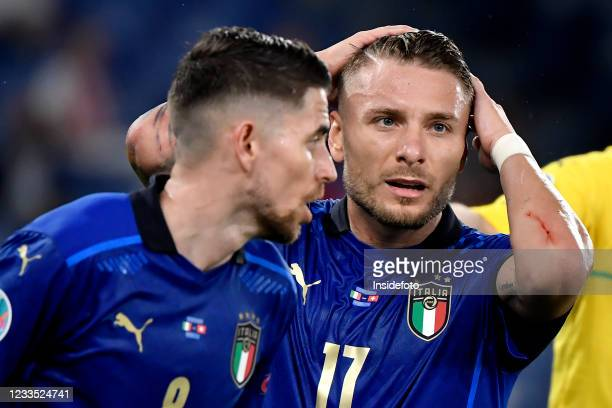 Jorge Luiz Frello Filho Jorginho and Ciro Immobile of Italy react during the Uefa Euro 2020 Group A football match between Italy and Switzerland....