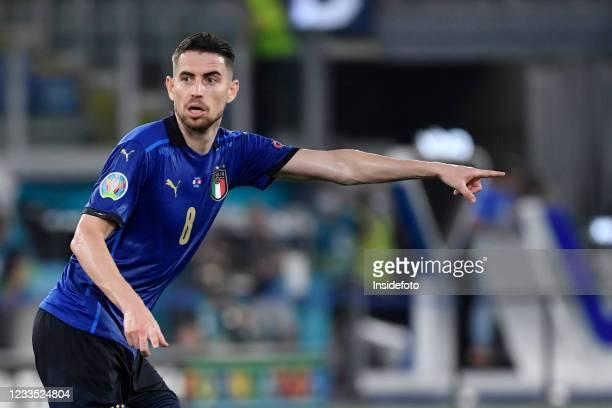 Jorge Luiz Frello Filho Jorginho of Italy reacts during the Uefa Euro 2020 Group A football match between Italy and Switzerland. Italy won 3-0 over...