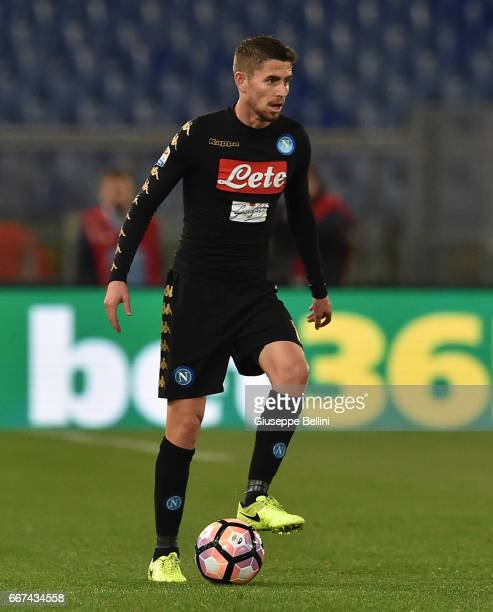 Jorge Luiz Frello Jorginho of SSC Napoli in action during the Serie A match between SS Lazio and SSC Napoli at Stadio Olimpico on April 9 2017 in...