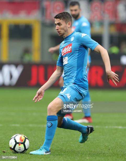 Jorge Luiz Frello Jorginho of SSC Napoli in action during the serie A match between AC Milan and SSC Napoli at Stadio Giuseppe Meazza on April 15...