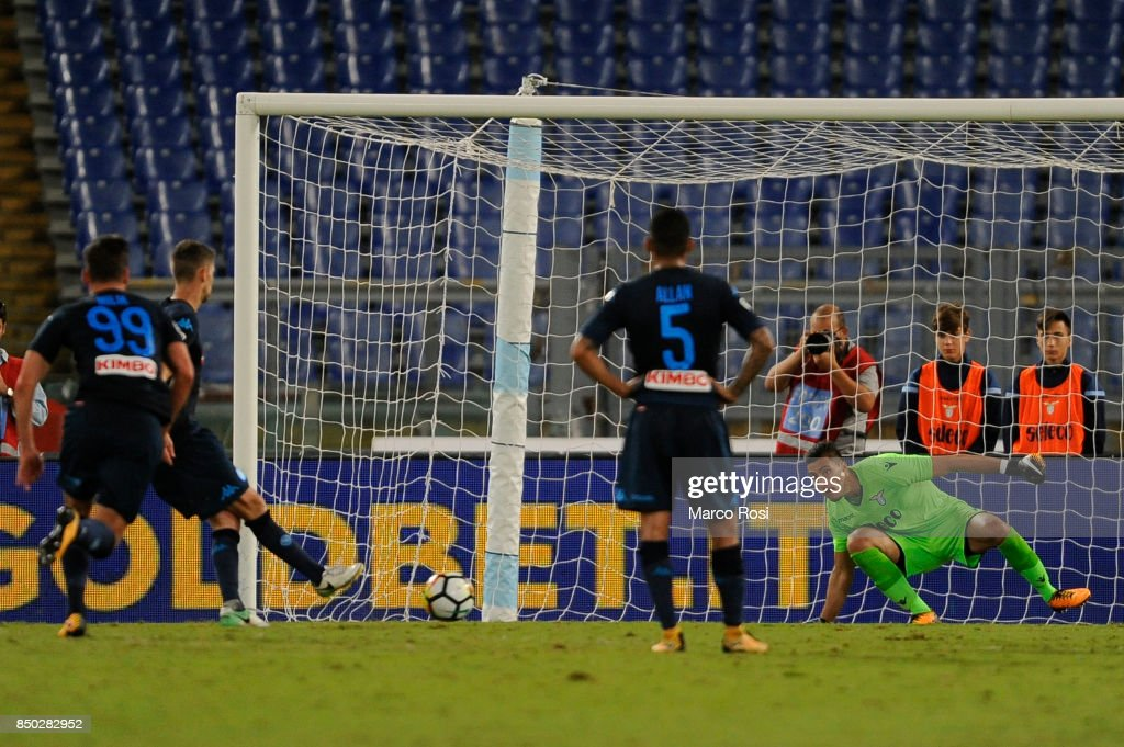 Jorge Luiz Jorginho of SSC Napoli scores a fourth goal a penalty during the Serie A match between SS Lazio and SSC Napoli at Stadio Olimpico on September 20, 2017 in Rome, Italy.