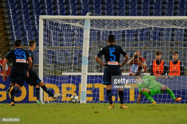 Jorge Luiz Jorginho of SSC Napoli scores a fourth goal a penalty during the Serie A match between SS Lazio and SSC Napoli at Stadio Olimpico on...