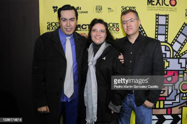 Jorge Magaña General Director Shorts México Miguel Anaya Borja Director and Screenwriter Carolina Pavia during the closing night of the Shorts Mexico...