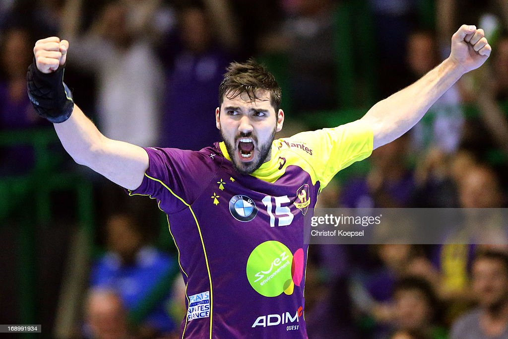 Jorge Maqueda of Nantes celebrates a goal during the EHF Cup Semi Final match between Tvis Holstebro and HBC Nantes at Palais des Sports de Beaulieu on May 18, 2013 in Nantes, France.