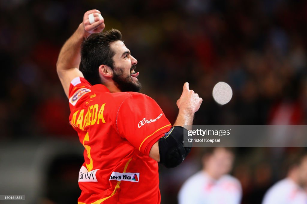 Jorge Maqueda of Spain celebrates a goal during the Men's Handball World Championship 2013 final match between Spain and Denmark at Palau Sant Jordi on January 27, 2013 in Barcelona, Spain.