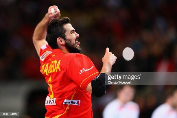Jorge Maqueda of Spain celebrates a goal during the Men's Handball World Championship 2013 final match between Spain and Denmark at Palau Sant Jordi...