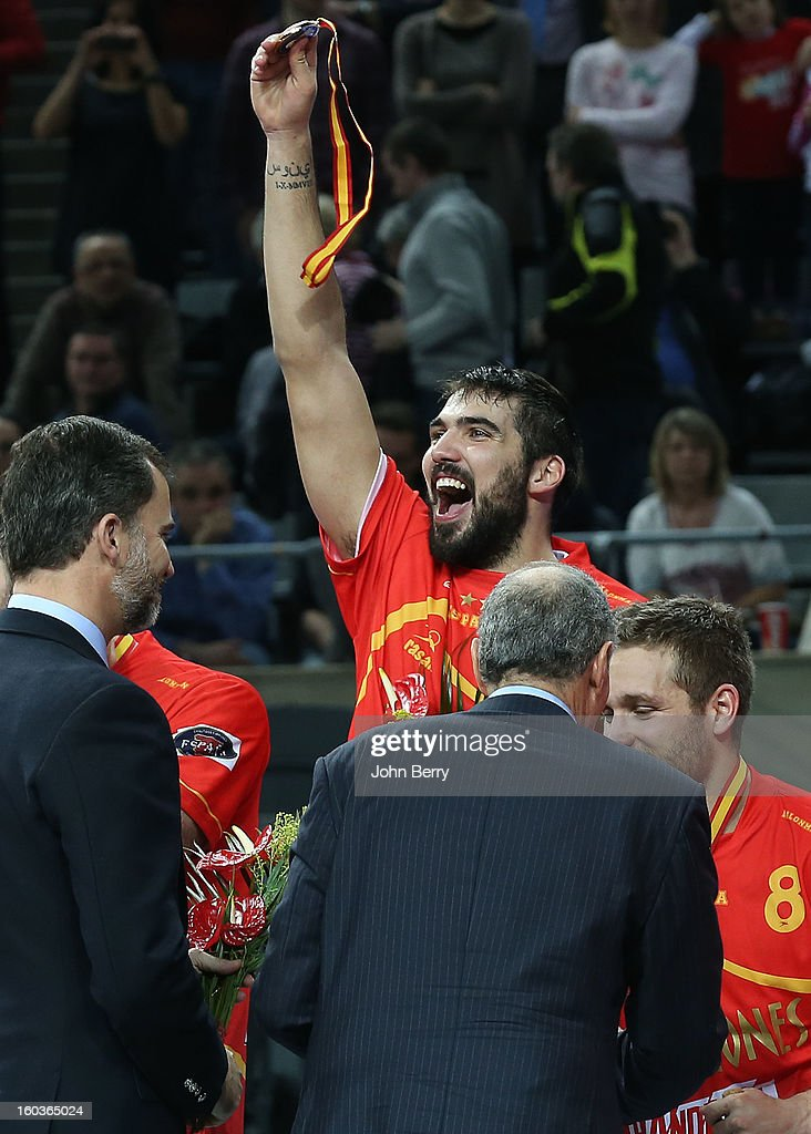 Jorge Maqueda of Spain celebrates after the Men's Handball World Championship 2013 final match between Spain and Denmark at Palau Sant Jordi on January 27, 2013 in Barcelona, Spain.