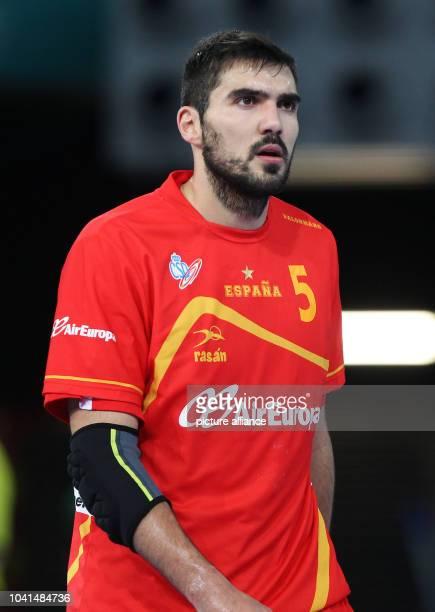 Jorge Maqueda Pena of Spain looks on during the men's Handball World Championships main round match Spain vs Algeria in Madrid, Spain, 11 January...