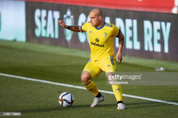 Jorge Marcos Pombo of Cadiz CF controls the ball during the Copa del Rey round of 32 match between Girona FC and Cadiz CF at Montilivi Stadium on...