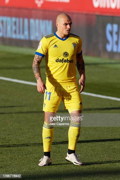 Jorge Marcos Pombo of Cadiz CF looks on during the Copa del Rey round of 32 match between Girona FC and Cadiz CF at Montilivi Stadium on January 16,...
