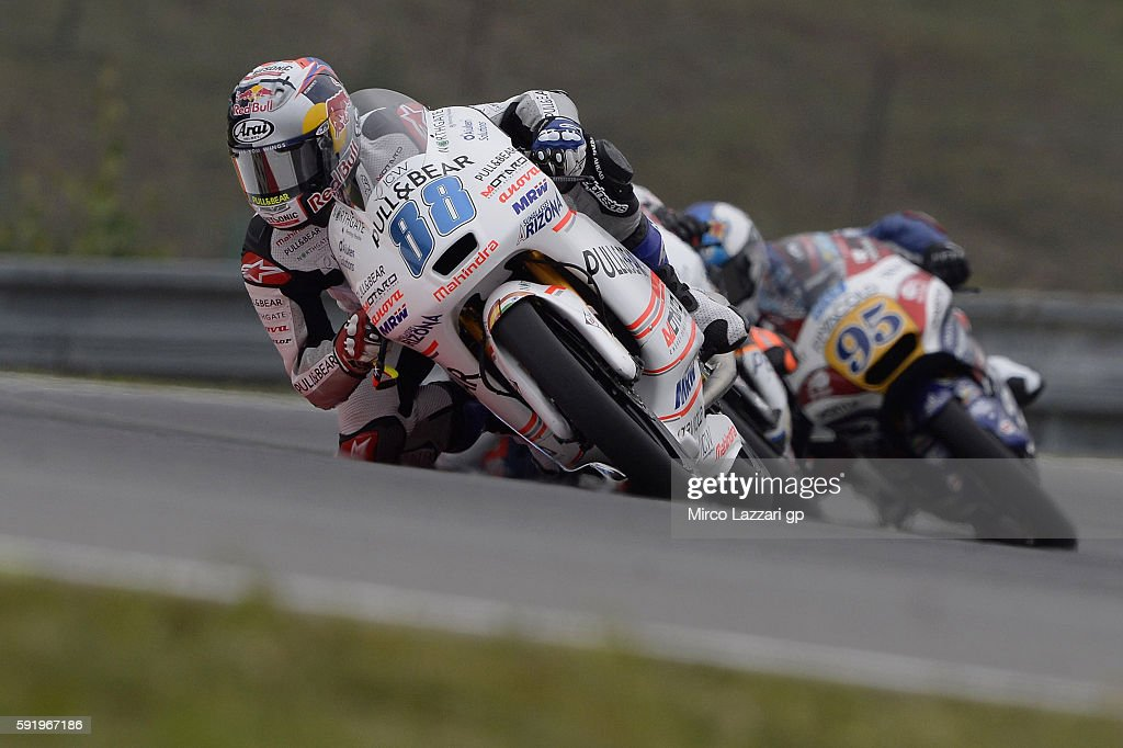 Jorge Martin of Spain and Aspar Team Moto3 leads the field during the MotoGp of Czech Republic - Free Practice at Brno Circuit on August 19, 2016 in Brno, Czech Republic.